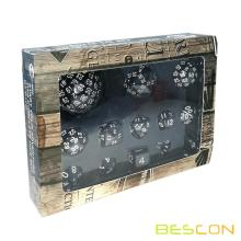Bescon Complete Polyhedral Dice Set 13pcs D3-D100, 100 Sides Dice Set Opaque Black