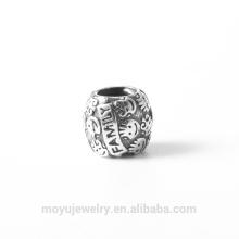 Real 925 prata esterlina sorriso face família presente charme grânulo fit padora pulseira