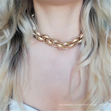 Exaggerated CCB short twist necklace punk thick chain necklace