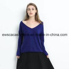 Ladies V-Neck Pure Cashmere Pullover mit glänzenden Pailletten