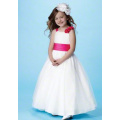 Ball Gown Round Neck Full-length Satin Tulle Flower Girl Dress