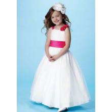 Ball Gown Round Neck Full-length Satin Tulle Flower Girl Dress