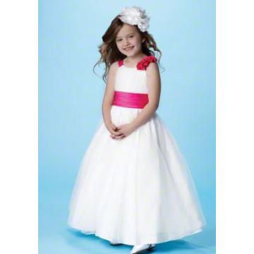 Cuello redondo vestido de fiesta de raso de tul de flores vestido de niña