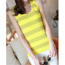 Ladies Fashion Seamless Yarn Dyed Vest With Lurex