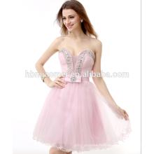 Haute qualité perlée OEM service suzhou robe de soirée court saree ouvert chaud fille sexy photo avec sweetheart décolleté