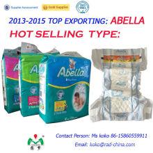Abella Jumbo Pack África Calidad PE Película trasera Magic Tape Soft Cómodo pañales para bebés