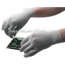 Gant ESD tricoté en nylon 13G sans couture avec PU blanc sur le dessus du doigt.
