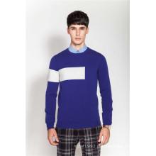 100% Cashmere Costela malha em torno do pescoço Intarsia Homens Knitwear