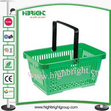 Cesto de compras plástico portátil do único punho para o supermercado