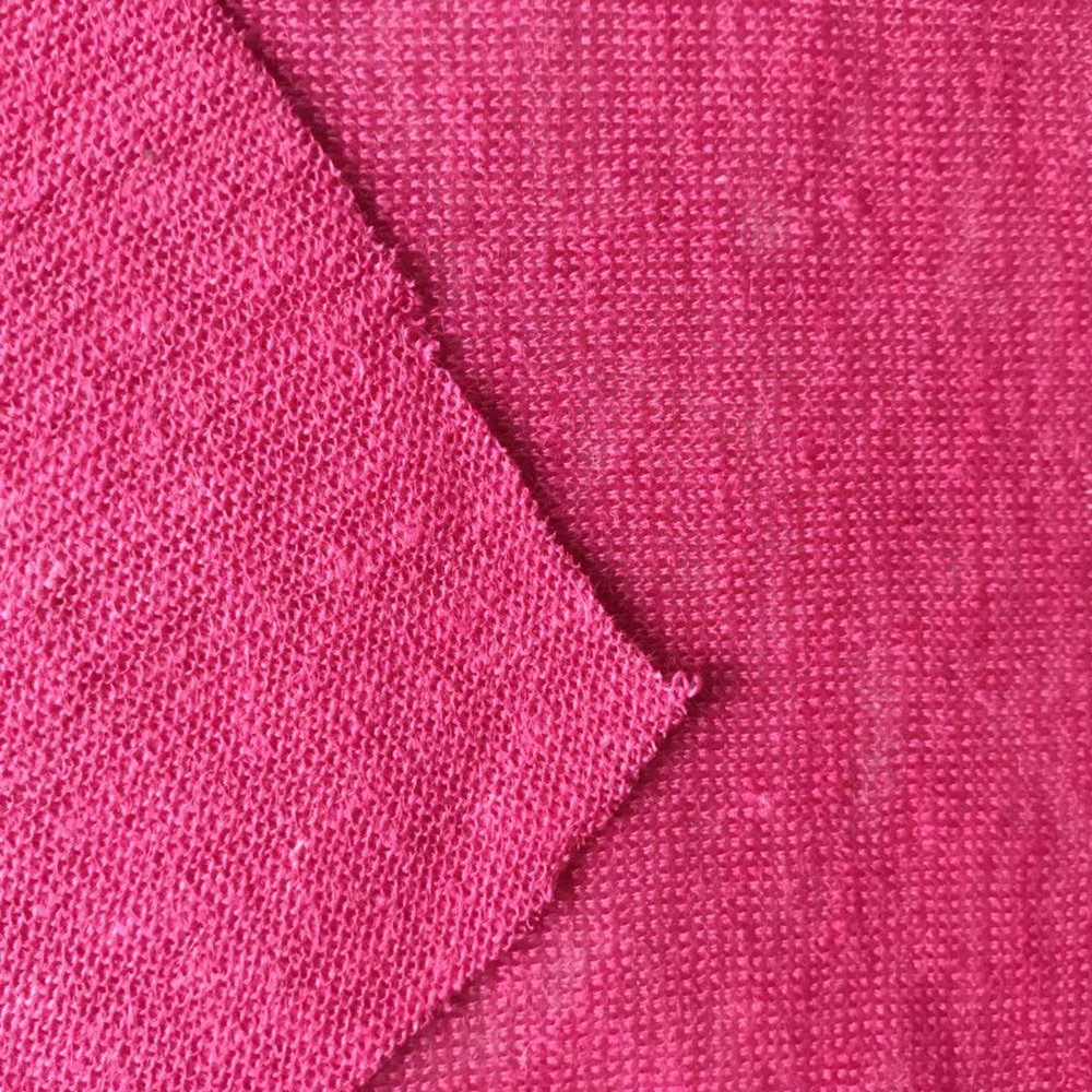 Shinny red color linen knitting T-shirt fabric