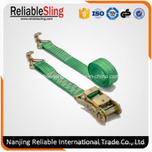 35mm 2ton Polyester Ratchet Strap Tensioner with J Hooks