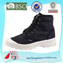 Negro superior de lona superior de PVC barato botas de tobillo mujeres