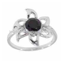 Designer Schwarz Onyx Edelstein 925 Sterling Silber Ring