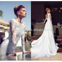 Neue Ankunft 2014 Alibaba Hochzeits-Kleid-Juwel-Ansatz-bloße lange Hülse V-förmige rückseitige Spitze-Applique-Satin A-Linie Brautkleid NB0810