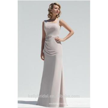 2018 La nueva gasa del estilo de la manera plisa en el neckline de la gota del lado delantero en el vestido KB18 1410 de la dama de honor de la correa trasera