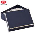 Caja de embalaje de bufanda de lujo azul marino pashmina