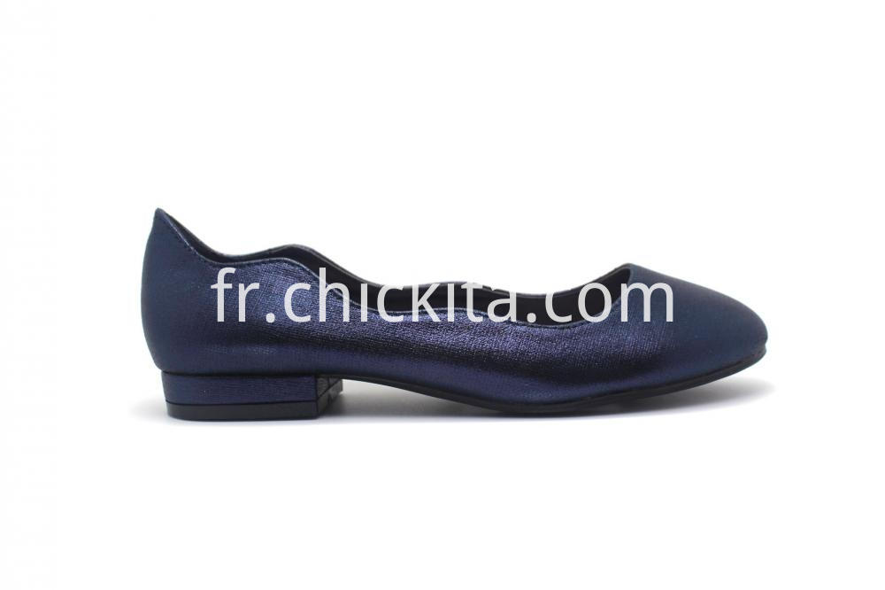Womens Blue Metallic Round Toe Flat