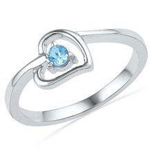 Heart Blue Topaz 925 Silver Ring Jewelry for Women