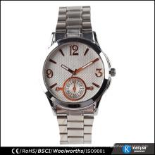 Reloj de la contraportada del acero inoxidable con la venda de reloj de acero, relojes de los hombres lujo 2015