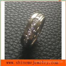 Shineme joyas completa círculo piedras incrustaciones de acero inoxidable anillo (czr2546)