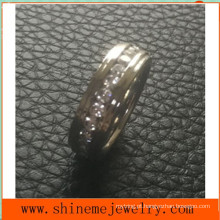 Jóias Shineme Full Circle Stones Inlaid Stainless Steel Ring (CZR2546)