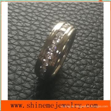 Shineme Schmuck Vollkreis Steine Intarsien Edelstahl Ring (CZR2546)