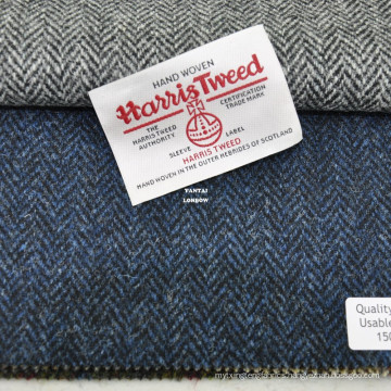 Authorized Hand Woven Harris Tweed Navy Herringbone Fabric in Stock