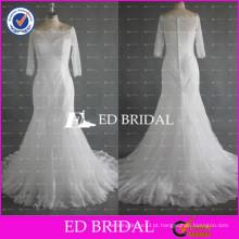 ED Bridal Elegant Bateau Neck Meia manga Mermaid Lace White Button Voltar Vestidos de casamento feitos na China