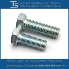 Pernos hexagonales DIN933 de acero al carbono o acero inoxidable (M3-M48)