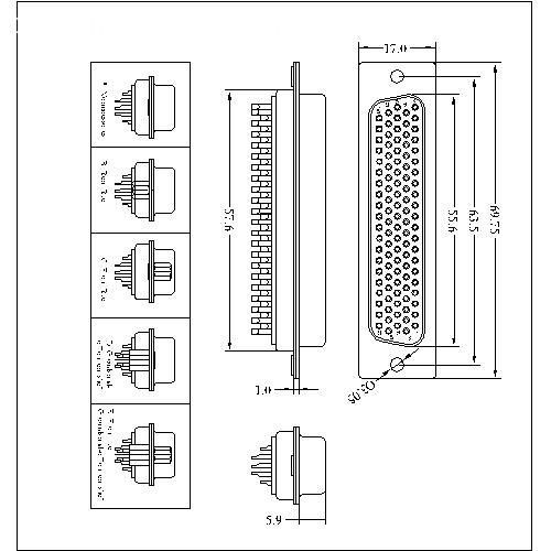 HDD03-FXXXXX D-SUB Female5 row high density solder 104p(stamped pin)