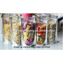 Aluminum foil ziplock stand up pouches for snack food packaging bags