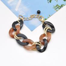 2020 2021 custom stylish acrylic and gold plated aluminum alloy circle link chain adjustable bracelet