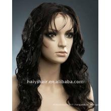 En gros stock mode beauté corps vague remy cheveux indiens pleine dentelle perruque
