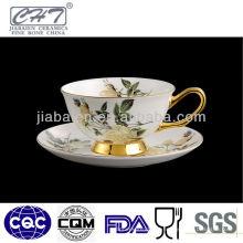 Copo de chá de porcelana branca super, copo de café com design elegante