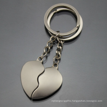 Promotion Laser Engrave Logo Metal Pairs Couple Heart Keyring (F1379A)