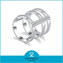925 Silver Rhodium Plated Cubic Zirconia CZ Stone Ring (R-0638)