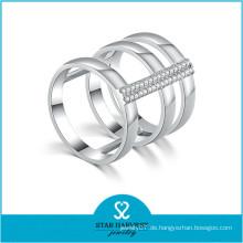 925 Silber rhodiniert Zirkonia CZ Stein Ring (R-0638)