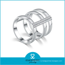 925 серебро Родием кубический цирконий CZ каменное кольцо (Р-0638)