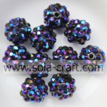 Bluishviolet Acrylic Chunky Resin Rhinestone Beads Children Necklace 10*12MM