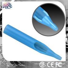 Flat Round Diamond Transparente tatuagem dicas descartáveis curta clara azul, estéreis descartáveis tatuagem máquina bico dicas Needle Tub