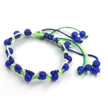 Rasta Friendship Braided Rope Bracelet with Blue Beads