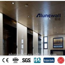 Alunewall A2 / B1 classe ignifuge en bois modèle en aluminium panneau composite pour la décoration intérieure et la couverture de porte