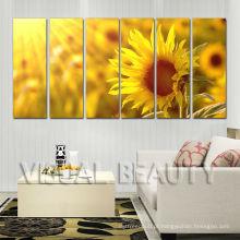 Decoração do girassol 6Panel Impressão Em Tela Canvas