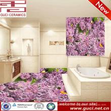 Diseños de baldosas 3d y piso de cerámica de flor de diseño digital