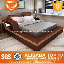 2017 luxe chambre meubles standard / king / queen taille led en cuir ensembles de lits dubai