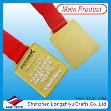 Gewohnheit Gold Metall Finisher Medaille mit Red Neck Ribbon (lzy00082)