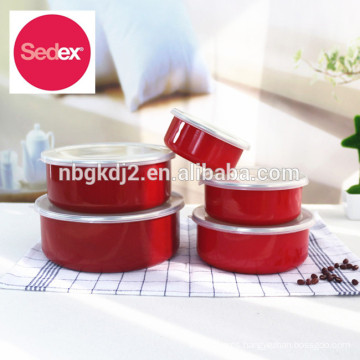 Cheap & High Quality enamel storage bowl set with plastic lid for korea