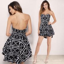 Hot Party Kleid ohne Schulter gestreiften gestreiften Rock