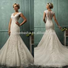 2014 Heiße Verkaufs-V-Ansatz Kappen-Hülsen-bloße Tulle-rückseitige Spitze-Applique-langes Nixe-Schwanz-Hochzeits-Kleid-Kleid nach Maß in China NB0801