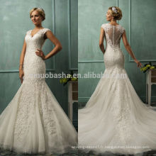 2014 Hot Sale V-Neck Cap Sleeve Vert Tulle Back Lace Applique Long Mermaid Tail Robe de mariée Robe Custom Made In China NB0801